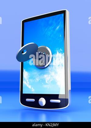 Un smartphone verrouillé illustration en rendu 3D Banque D'Images