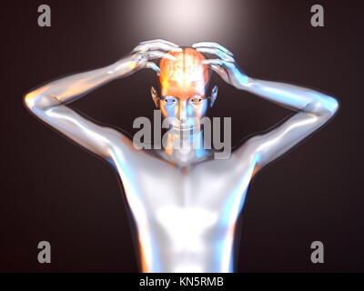 Puissance mentale et la créativité. Rendu 3d illustration. Banque D'Images