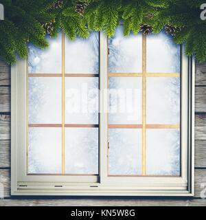 Résumé Contexte L'hiver avec des décorations de Noël. Banque D'Images