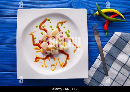 Recette Ceviche de style moderne Gastronomie La cuisine moléculaire. Banque D'Images