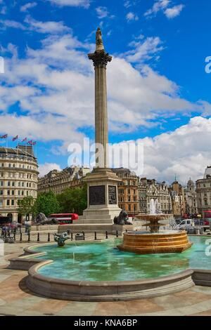Trafalgar Square de Londres au Royaume-Uni l'Angleterre. Banque D'Images