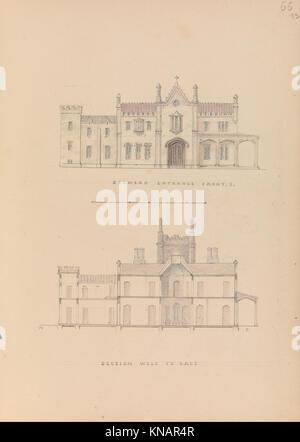 Belmead , James River, Virginia- façade d'entrée et de l'ouest-est (recto); section nord-sud et la région de aménagement Banque D'Images