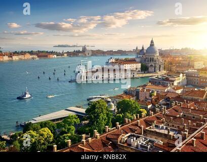 Vue panoramique vue aérienne de San Marco de Venise Campanile. Banque D'Images