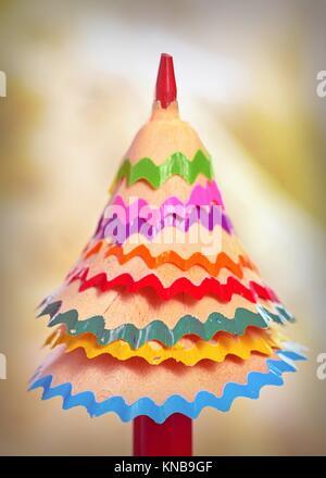 Tree â. 'Â. 'Crayon de couleur de copeaux. Banque D'Images