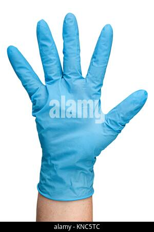 De gants en latex bleu isolé sur fond blanc. Banque D'Images