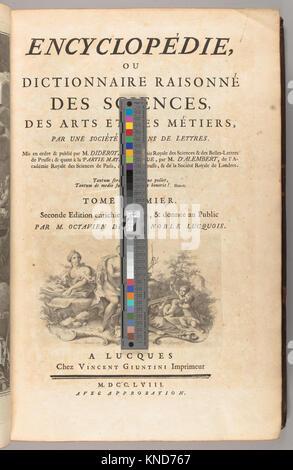 Encyclopédie, ou Dictionnaire raisonné des sciences, des arts et des métiers, par une société de gens de lettres Banque D'Images