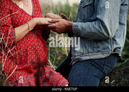 Mid section of mid adult romantique pregnant couple holding hands Banque D'Images