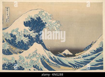Sous la vague de Kanagawa (Kanagawa oki nami ura), également connu sous le nom de la grande vague, de la série trente Banque D'Images