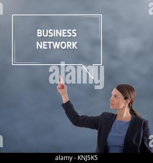 Concept d'affaires réseau d'affaires. Business Woman Concept Graphique Banque D'Images