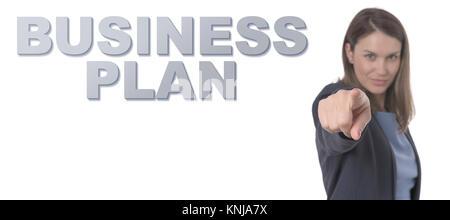 Femme d'affaires PLAN D'AFFAIRES texte pointant le concept d'entreprise. Banque D'Images