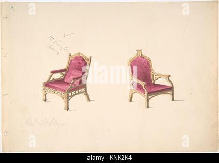 Conception pour deux fauteuils de style médiéval pour Rev. W. Lloyd RENCONTRÉ DP807153 Design pour deux fauteuils Banque D'Images
