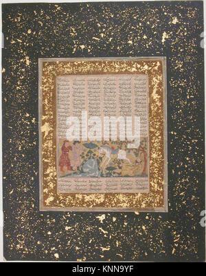Yazdegird j'ai lancé à la mort par l'eau de cheval , d'un folio Shahnama (Livre des Rois) rencontré sf57-51-33r Banque D'Images