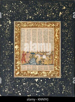 Yazdegird j'ai lancé à la mort par l'eau de cheval , d'un folio Shahnama (Livre des Rois) rencontré DT5165 Yazdegird Banque D'Images