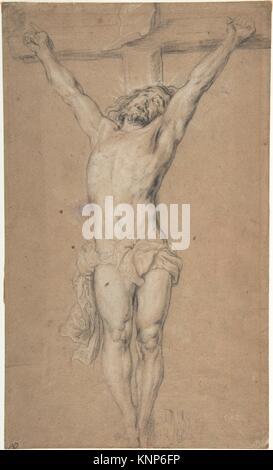 Le Christ sur la croix; Verso: Saint Jérôme lisant à la lumière des bougies, et un dessin de torse masculin (?). Banque D'Images