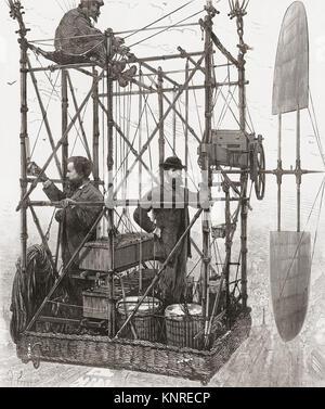 """Les aviateurs français Albert Tissandier (à gauche) et son frère Gaston Tissandier. L'homme non identifié en haut est probablement un assistant mécanicien. Albert Tissandier 1839-1906. Gaston Tissandier 1843-1899. La photo montre le """"cockpit"""" de leur dirigeable 1883 qui avaient été équipés d'un moteur électrique Siemens résultant en premier aviations electric-vol propulsé."""