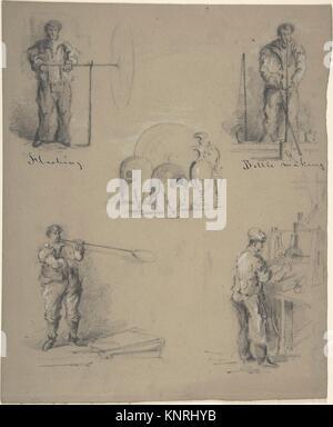 Cinq images montrant les processus de fabrication de verre. Artiste: Anonyme, britannique, 19e siècle; 19e siècle; Banque D'Images