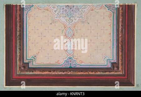 Design pour le décor peint d'un plafond avec des éclats et filagree. Artiste: Jules-Edmond-Charles Lachaise (français, Banque D'Images