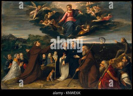 La Vierge adorée par les Saints. Artiste: Scarsellino (Ippolito Scarsella) (Italien, Ferrarese, ca. 1550-1620); Banque D'Images