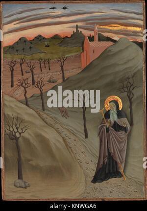 Saint Antoine l'Abbé dans le désert. Artiste: Osservanza Master (Italien, Siena, deuxième trimestre actif 15e siècle); Banque D'Images