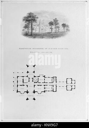 Belmead, James River, Virginia (vignette de Riverside et le plan d'élévation) rencontré MM74077 394158 Banque D'Images