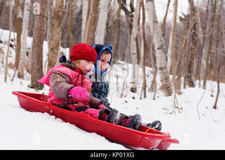 Frère et soeurs (5 et 3 ans) de la luge au Québec en hiver Banque D'Images