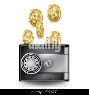 Portefeuille en cuir de Bitcoin vecteur. Fintech Blockchain. Les Bitcoins Trading. Verrouillé par serrure combinaison. Banque D'Images