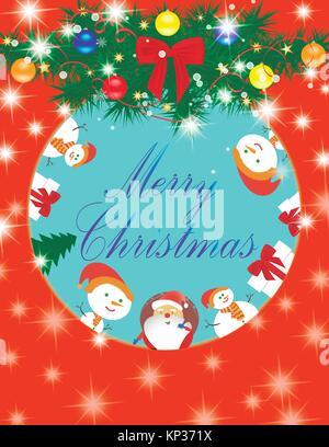 Carte Joyeux Noël Père Noël, bonhomme de neige, don