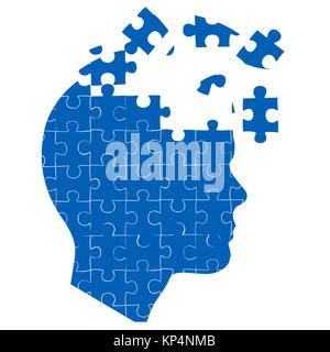 Illustration de l'esprit de l'homme avec jigsaw puzzle sur fond blanc Banque D'Images