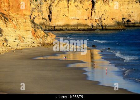 Sur une mer calme et de loisirs belle plage de Porto de Mos, à Lagos, Algarve, Portugal, Europe Banque D'Images