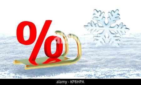 Un symbole de pourcentage sur le traîneau du Père Noël qui symbolise les promotions d'hiver Banque D'Images
