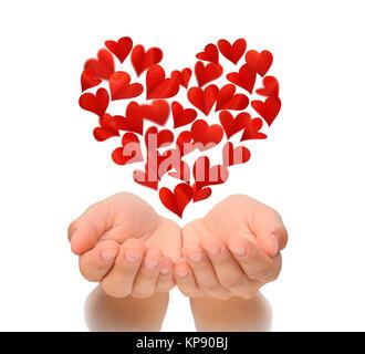 Coeur en forme de coeur battant plus creux des mains de la jeune femme, Valentine's Day, happy Valentines Day, love Banque D'Images