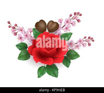 Valentine Day Set Realiste Rose Rouge Fleur Chocolat Pink Sakura