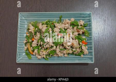 Sauté de foie de porc et le basilic thai food Banque D'Images