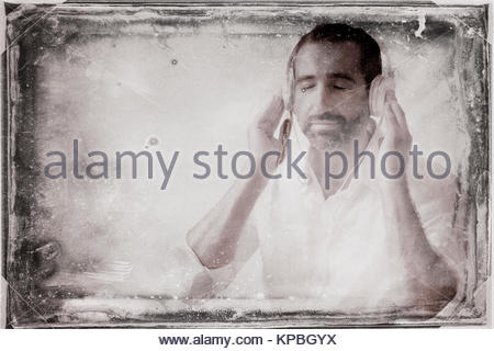 Man with headphones Banque D'Images