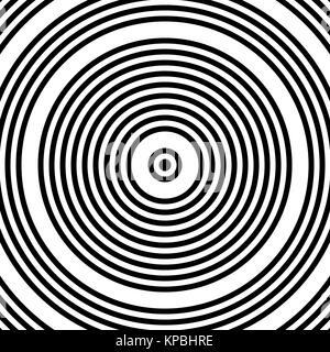 Noir et blanc moderne abstrait Cercles concentriques Banque D'Images