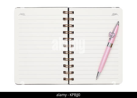 Blank carnet à spirales avec stylo à bille isolé sur fond blanc Banque D'Images