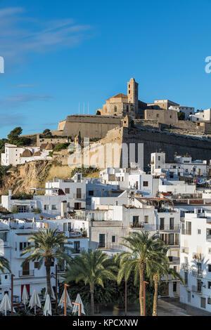 La Ville d'Ibiza et de la cathédrale de Santa Maria d'Eivissa, Ibiza, Baléares, Espagne. Banque D'Images