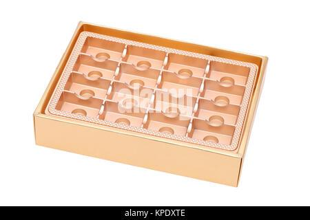 Boîte de confiseries vide isolé sur fond blanc