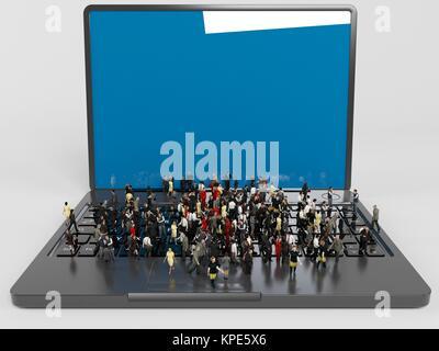 Beaucoup de personnages 3D sur un ordinateur portable Banque D'Images