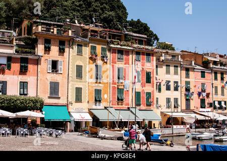 Maison typique de la méditerranée à Portofino, ligurie, italie Banque D'Images