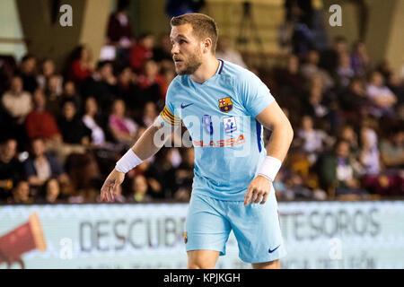 Leon, Espagne. 16 Décembre, 2017. Victor Tomas (FC Barcelone) au cours de la match de hand d'espagnol 2017-2018 Banque D'Images