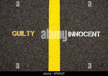 Antonyme concept de coupable ou innocent Banque D'Images