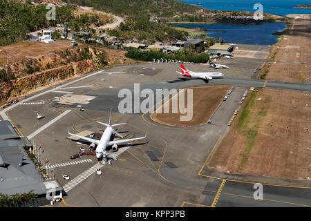 Vue aérienne de l'aéroport de Hamilton Island. Queensland, Australie Banque D'Images