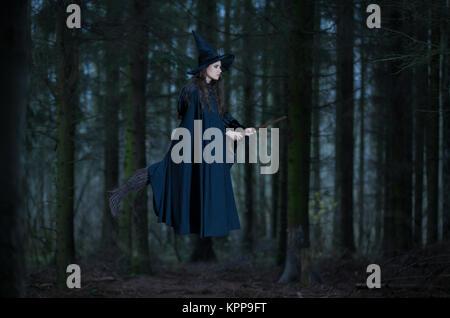 Vol sur un balai de sorcière dans la forêt Banque D'Images