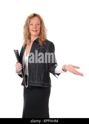 Femme d'affaires montrant le chemin. Banque D'Images