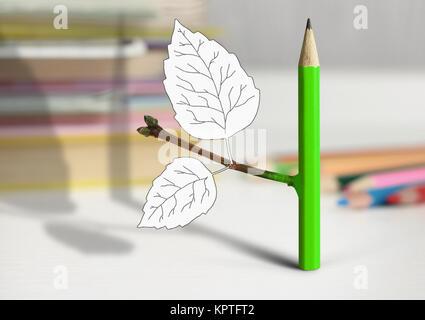 Concept idée créative, un crayon avec des feuilles sur la table Banque D'Images