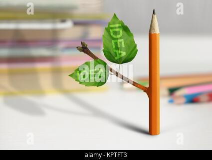 Nouvelle idée concept créatif, un crayon avec des feuilles Banque D'Images