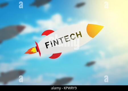 Groupe de la technologie financière fintech ou fusée design plat
