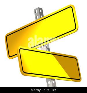 Deux jaune isolé sign Banque D'Images