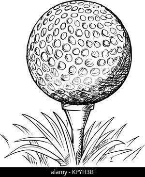 Dessin vectoriel appelée illustration de balle de golf sur tee et l'herbe. Banque D'Images